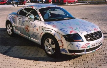 2001 Znakmi a symbolmi som zmenil auto na umelecké dielo I painted signs and symbols on my car and changed it into an artwork