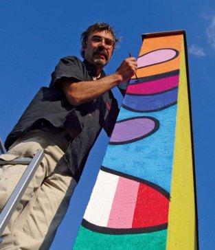 2007 Pri realizácii maľby na stene Danubiany Working on the mural at the Danubiana